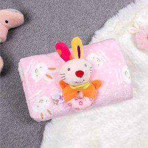 Kids Soft Flannel Blanket w/ Matching Toy - Pink